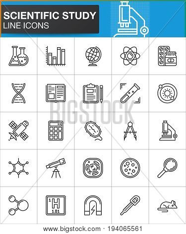 Scientific study line icons set outline vector symbol collection linear style pictogram pack. Signs logo illustration. Set includes icons as lab flask microscope test tube dna cell atom