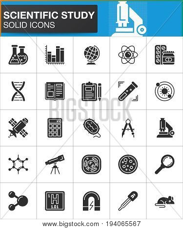 Scientific study vector icons set modern solid symbol collection filled style pictogram pack. Signs logo illustration. Set includes icons as lab flask microscope test tube dna cell atom