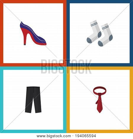 Flat Icon Garment Set Of Heeled Shoe, Foot Textile, Pants And Other Vector Objects. Also Includes Necktie, Sandal, Shoes Elements.