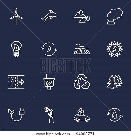 Set Of 16 Bio Outline Icons Set.Collection Of Afforestation, Charge, Garbage And Other Elements.