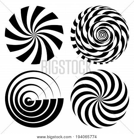 Radial Spiral Rays Set. Vector Psychedelic Illustration. Twisted Rotation Effect. Swirling Monochrome Shapes. Black And White Vortex Background. Black And White Hypnosis