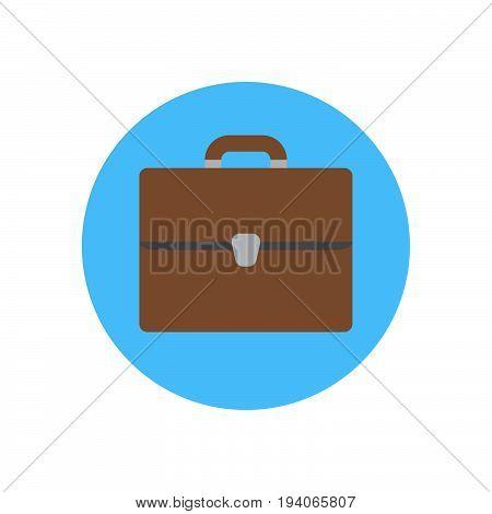 Bag briefcase flat icon. Round colorful button Portfolio circular vector sign logo illustration. Flat style design