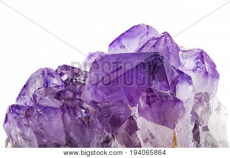 an amethyst crystals on a white background