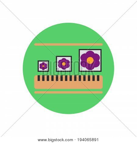Adjustable image size flat icon. Round colorful button circular vector sign logo illustration. Flat style design