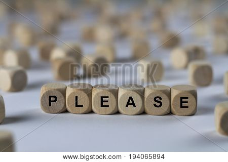 Please - Cube With Letters, Sign With Wooden Cubes