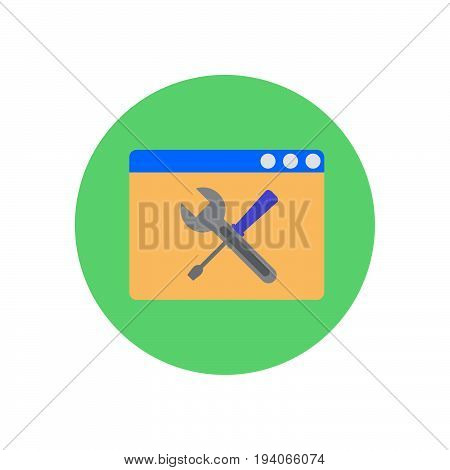 Browser with crossed wrench and screwdriver flat icon. Round colorful button Web page settings and configuration circular vector sign logo illustration. Flat style design