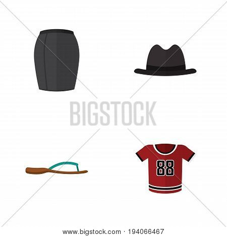 Flat Icon Garment Set Of T-Shirt, Panama, Beach Sandal Vector Objects. Also Includes Panama, Shirt, Sandal Elements.