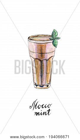 Glass of mocco mint with leaf of mint and mint syrup in watercolor hand drawn illustration