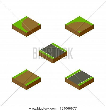 Isometric Way Set Of Turning , Sand, Footpath Vector Objects. Also Includes Turning, Road, Rotation Elements.