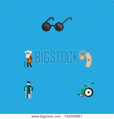 Flat Icon Handicapped Set Of Injured, Ancestor, Equipment And Other Vector Objects. Also Includes Equipment, Audiology, Sunglasses Elements.