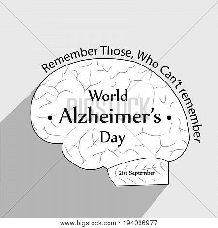 illustration of brain with World Alzheimer's Day Remember Those Who Can't remember text on the occasion of World Alzheimer's Day