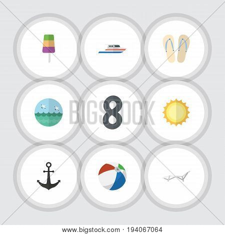 Flat Icon Summer Set Of Sphere, Beach Sandals , Deck Chair Vector Objects. Also Includes Ship, Chaise, Chair Elements.