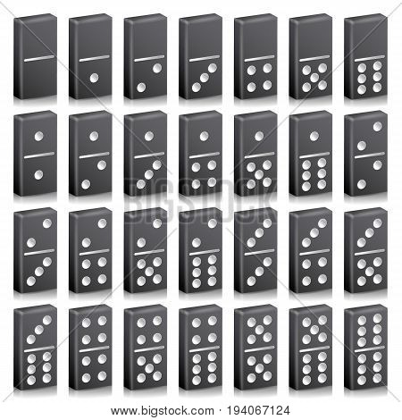 Domino Full Set Vector Realistic 3D Illustration. Black Color. Classic Game Dominoes Bones Isolated On White. Top View. 28 Pieces