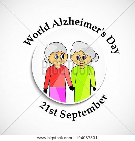 illustration of women with World Alzheimer's Day 21st September text on the occasion of World Alzheimer's Day