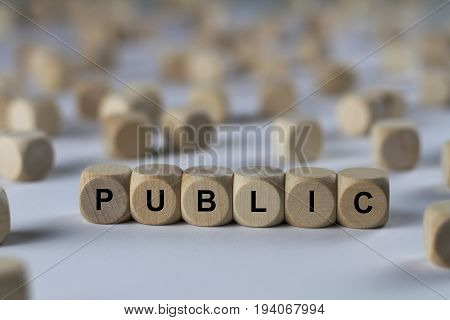 Public - Cube With Letters, Sign With Wooden Cubes