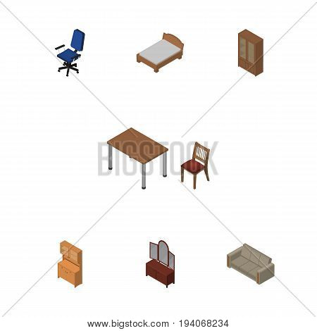 Isometric Design Set Of Cupboard, Cabinet, Bedstead And Other Vector Objects. Also Includes Sofa, Table, Sideboard Elements.