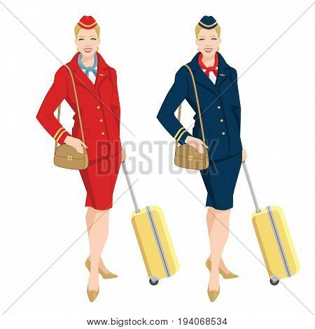 Vector illustration of beautiful blonde air hostess in uniform. Stewardess holding travel case  in her hand.