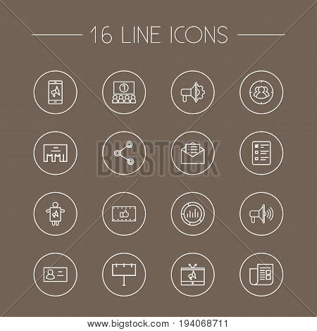 Set Of 16 Trade Outline Icons Set.Collection Of Market, Social Media Ads, Tv And Other Elements.