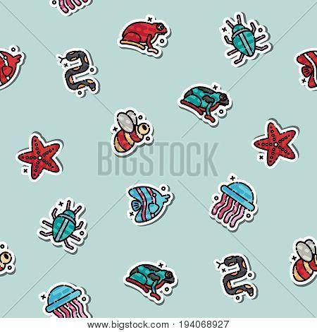 Poisonous creatures concept icons pattern. Vector illustration, EPS 10