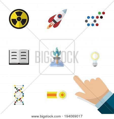 Flat Icon Knowledge Set Of Chemical, Spaceship, Molecule And Other Vector Objects. Also Includes Gas, Irradiation, Genome Elements.