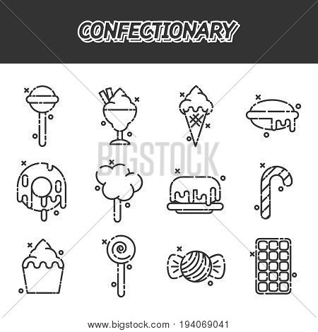 Confectionary cartoon icons. Design concept. Vector illustration EPS 10