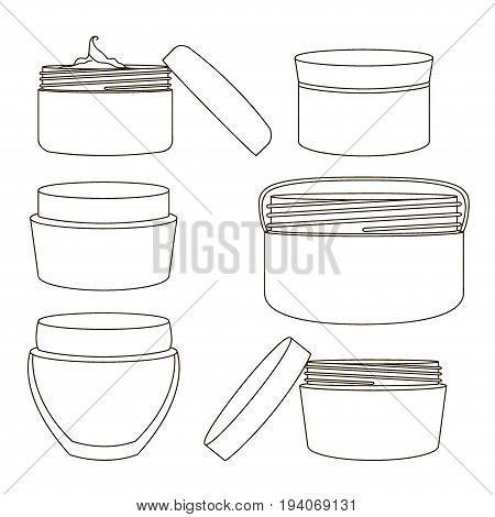 Cream jar set isolated on light background. Ideal for mock up packaging.
