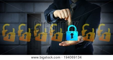Blue chip cyber security manager is selecting the only one closed virtual padlock in a lineup of otherwise broken lock icons. Information technology concept for data protection and compliance.