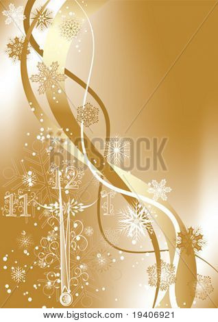 New year's background with clock, vector illustration