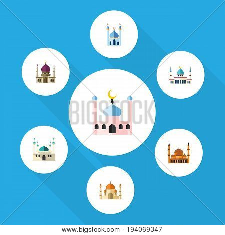 Flat Icon Minaret Set Of Architecture, Religion, Islam And Other Vector Objects. Also Includes Building, Muslim, Islam Elements.