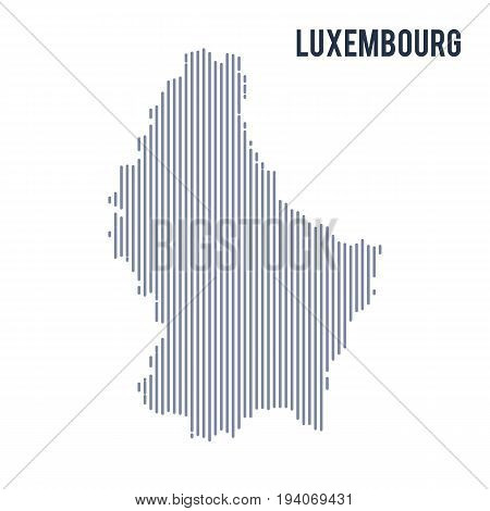 Vector Abstract Hatched Map Of Luxembourg With Vertical Lines Isolated On A White Background.