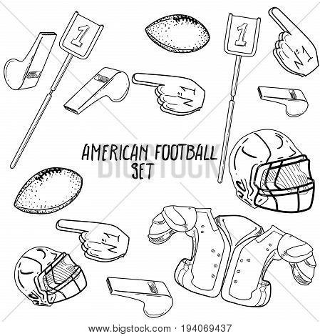 Hand drawn American Football elements. Vector illustration, EPS 10