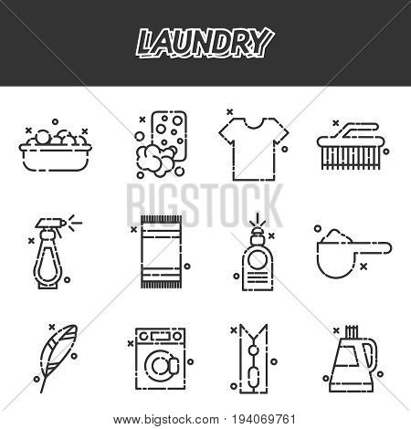 Laundry concept icons set with iron and reception symbols cartoon isolated vector illustration