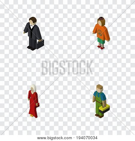 Isometric People Set Of Female, Lady, Plumber And Other Vector Objects. Also Includes Investor, Plumber, Woman Elements.