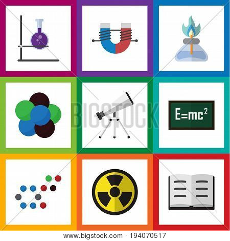 Flat Icon Study Set Of Lecture, Attractive Force, Scope And Other Vector Objects. Also Includes Attractive, Scope, Molecule Elements.