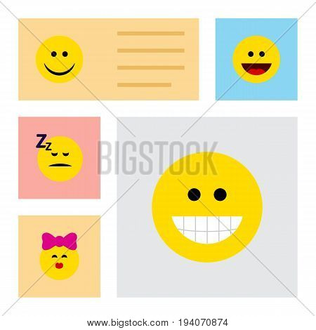 Flat Icon Face Set Of Caress, Grin, Asleep And Other Vector Objects. Also Includes Asleep, Sleeping, Joy Elements.