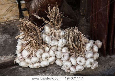 Garlic on display in the market.Vigan Luzon philippines
