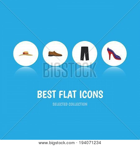 Flat Icon Clothes Set Of Heeled Shoe, Male Footware, Elegant Headgear And Other Vector Objects. Also Includes Heeled, Shoe, Shoes Elements.