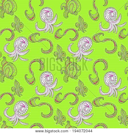 Raster oriental pattern on bright green field.