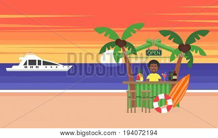 Summer background - sunset beach. Vacation at the ocean. The sun going down over the horizon is sunset. African man. Sea, yacht, bar and a palm tree. Modern flat design. Vector illustration.