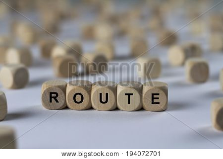 Route - Cube With Letters, Sign With Wooden Cubes