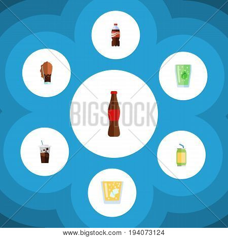Flat Icon Soda Set Of Carbonated, Cup, Bottle And Other Vector Objects. Also Includes Drink, Soda, Fizzy Elements.