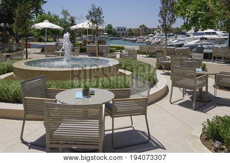 Halkidiki, Greece - June 10 2017: Sani Luxury Hotel Resort Marina Shops View.
