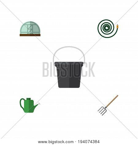 Flat Icon Dacha Set Of Pail, Hosepipe, Bailer And Other Vector Objects. Also Includes Can Bailer, Tool, Pail Elements.