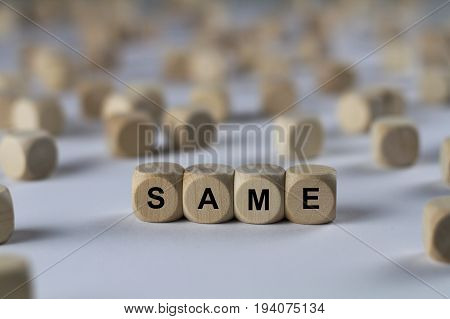 Same - Cube With Letters, Sign With Wooden Cubes