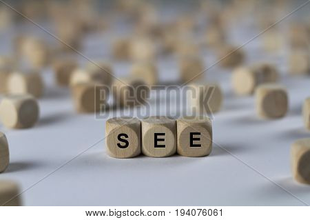 See - Cube With Letters, Sign With Wooden Cubes