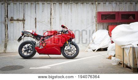 Saint-Petersburg, Russia - July 06, 2017: Ducati Superbike 999s  Testastretta in Sankt-Petersburg at july 06 2017