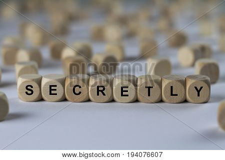Secretly - Cube With Letters, Sign With Wooden Cubes