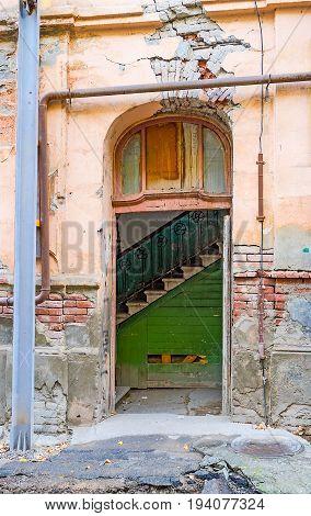 The Front Door Of Ramshackle House In Tbilisi