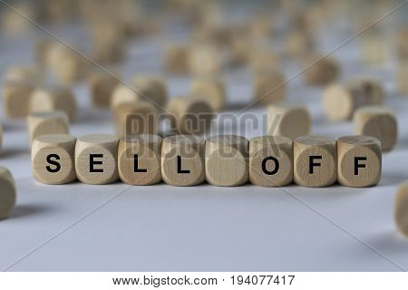 Sell Off - Cube With Letters, Sign With Wooden Cubes