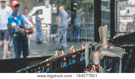Candles At Shrine Of Lourdes, Next To Grotto